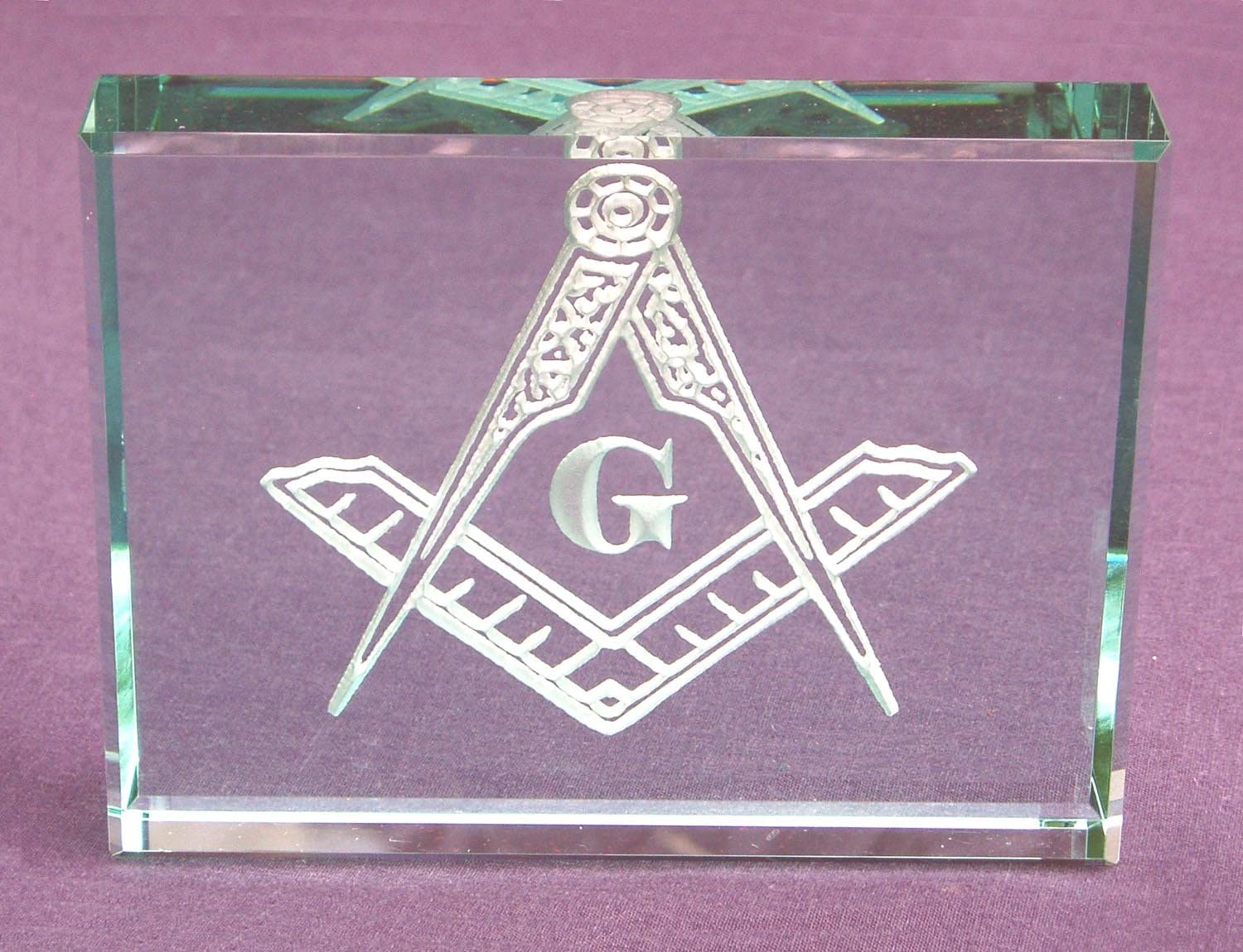 Masonic Square and Compass Hand Carved Etched Glass Paperweight