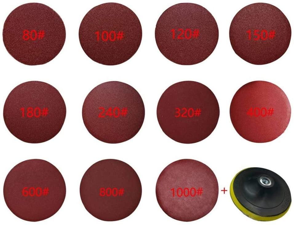 ZCZSDXB sandpaper-Red Polishing Discs 10 pcs 125 mm Round sandpaper Disk Sand Sheets Grit 80-1000 Hook Loop Sanding Disc for Sander Grits,80,125mm