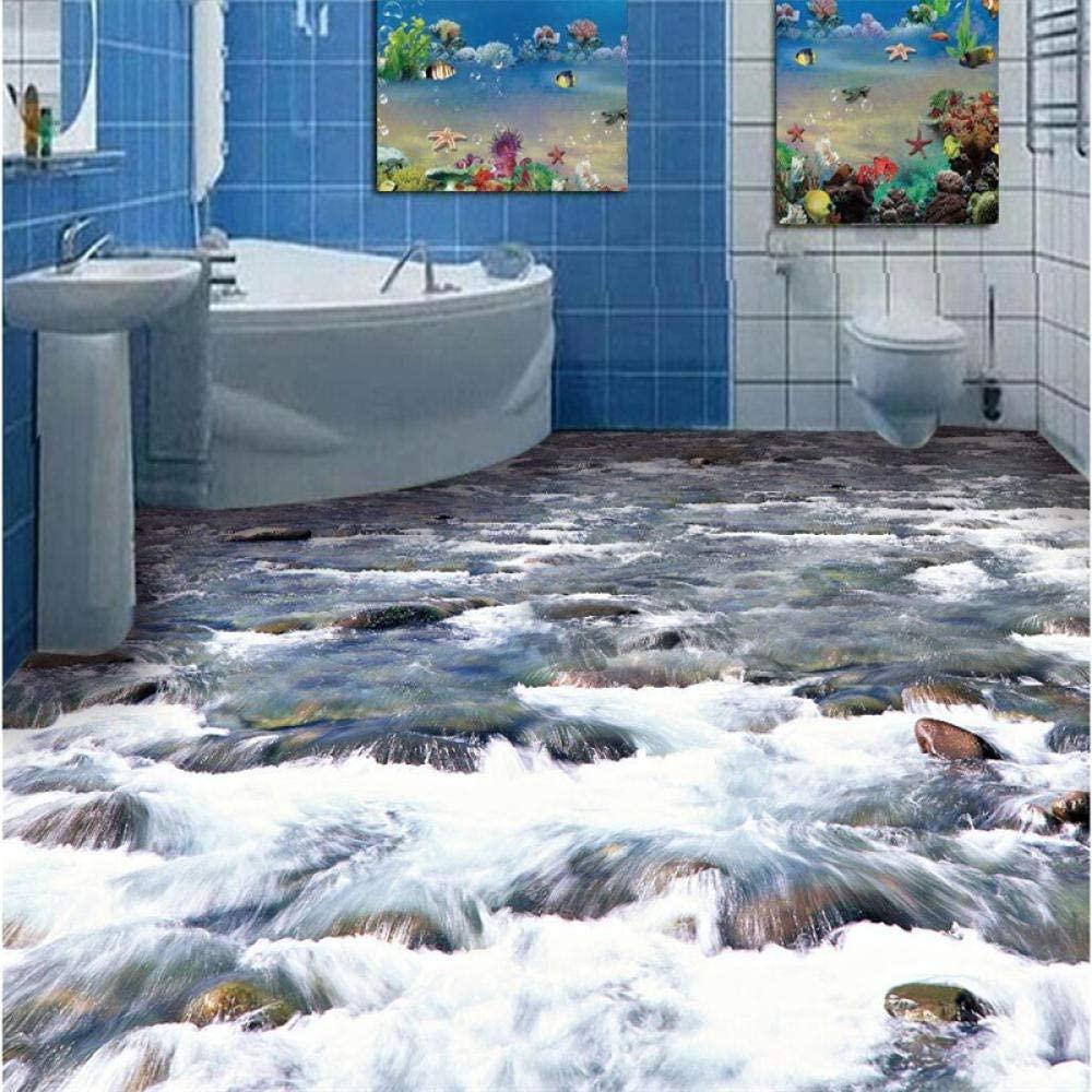 3D Custom Floor Painting Wallpaper Clear River Water Living Room Bathroom Floor Wallpaper PVC self - Adhesive Wall customize-1m2