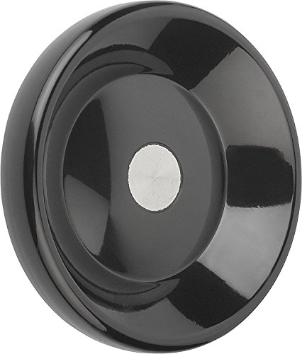 Kipp 06288-2140X08 Duroplastic Black Disc Handwheel Without Revolving Handle, Stainless Steel Bushing, High-Gloss Polished Finish, Style D, Metric, 140 mm Diameter, 8 mm Bore Size