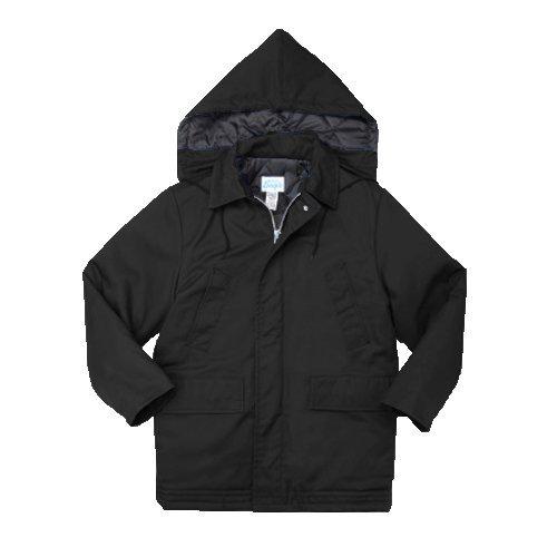 Pinnacle Textile JB34 8.5 OZ Twill 65/35 Polyester/Cotton, Parka W/Hood-Medium-Black