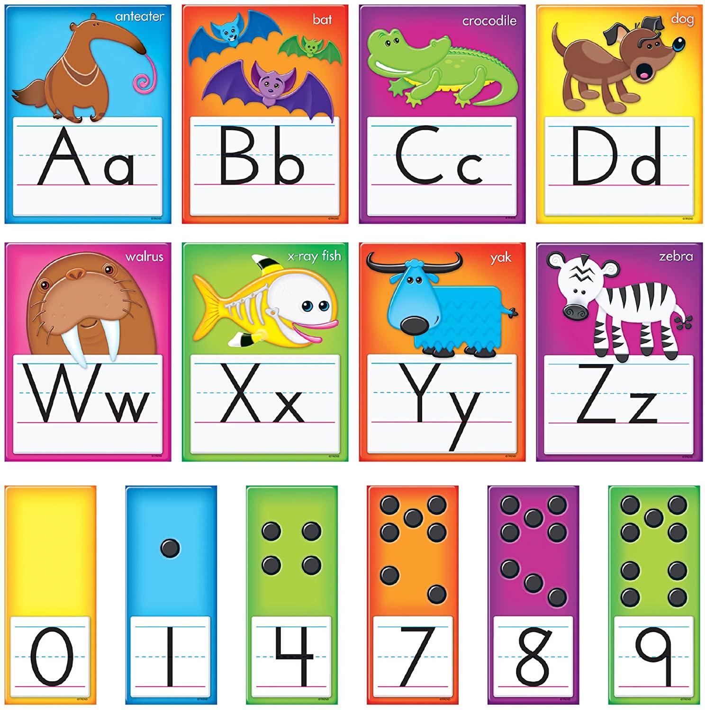 TREND enterprises, Inc. T-8265 Awesome Animals Alphabet Cards Standard Manuscript Bulletin Board Set