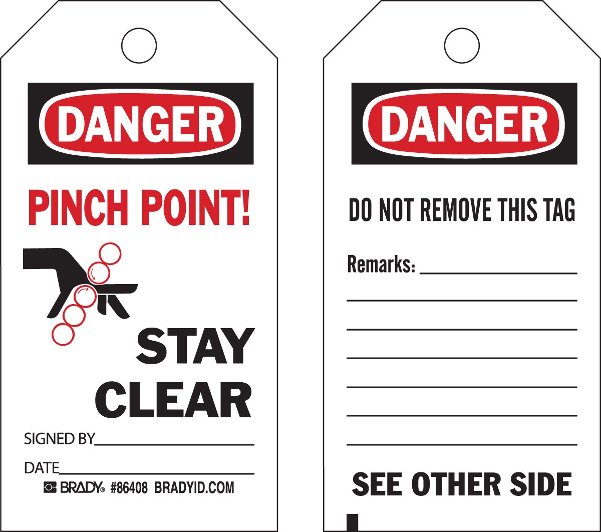 Brady  86527 5 3/4 Height x 3 Width, Economy Polyester (B-851), Black/Red on White Accident Prevention Tags (10 Tags)