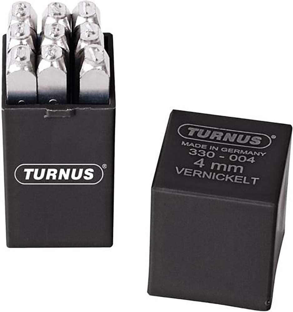 Turnus 330-002 Nickel Plated Number Stamp Set, Silver, 12.5 mm/0.001 mm, Set of 9 Pieces