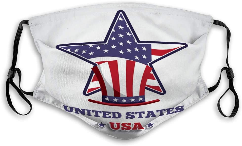Xunulyn Mouth Shield Anti-Dust Shield for Women and Men USA Emblem Design Protective Shield