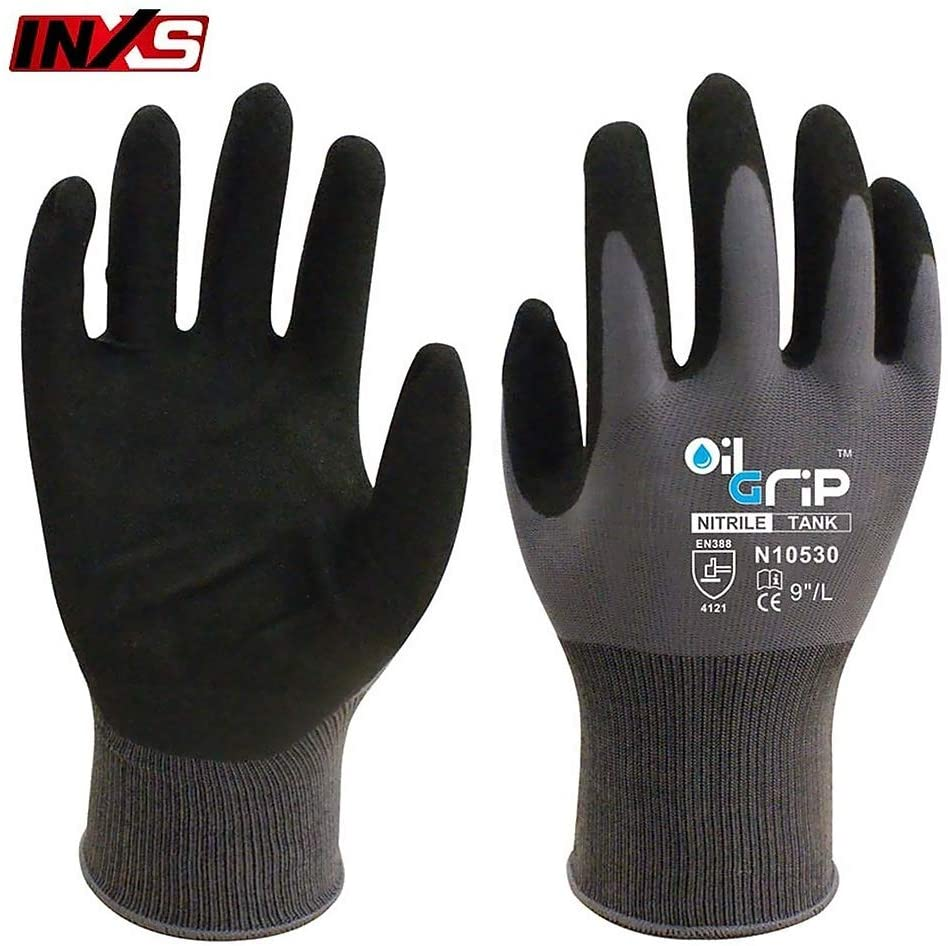 Nylon Work Gloves, INXS N10530 Black Polyester PU Coating Oil-Proof Wear Resistant Protective Universal Comfortable Gloves (8,M)