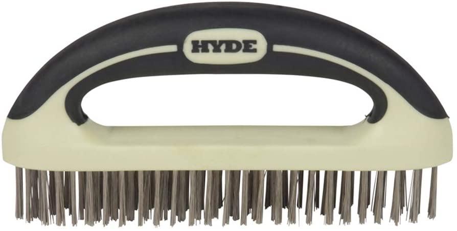 HYDE 46838 Stainless Steel Wire Scrub Brush, 8-inch, MAXXGRIP PRO