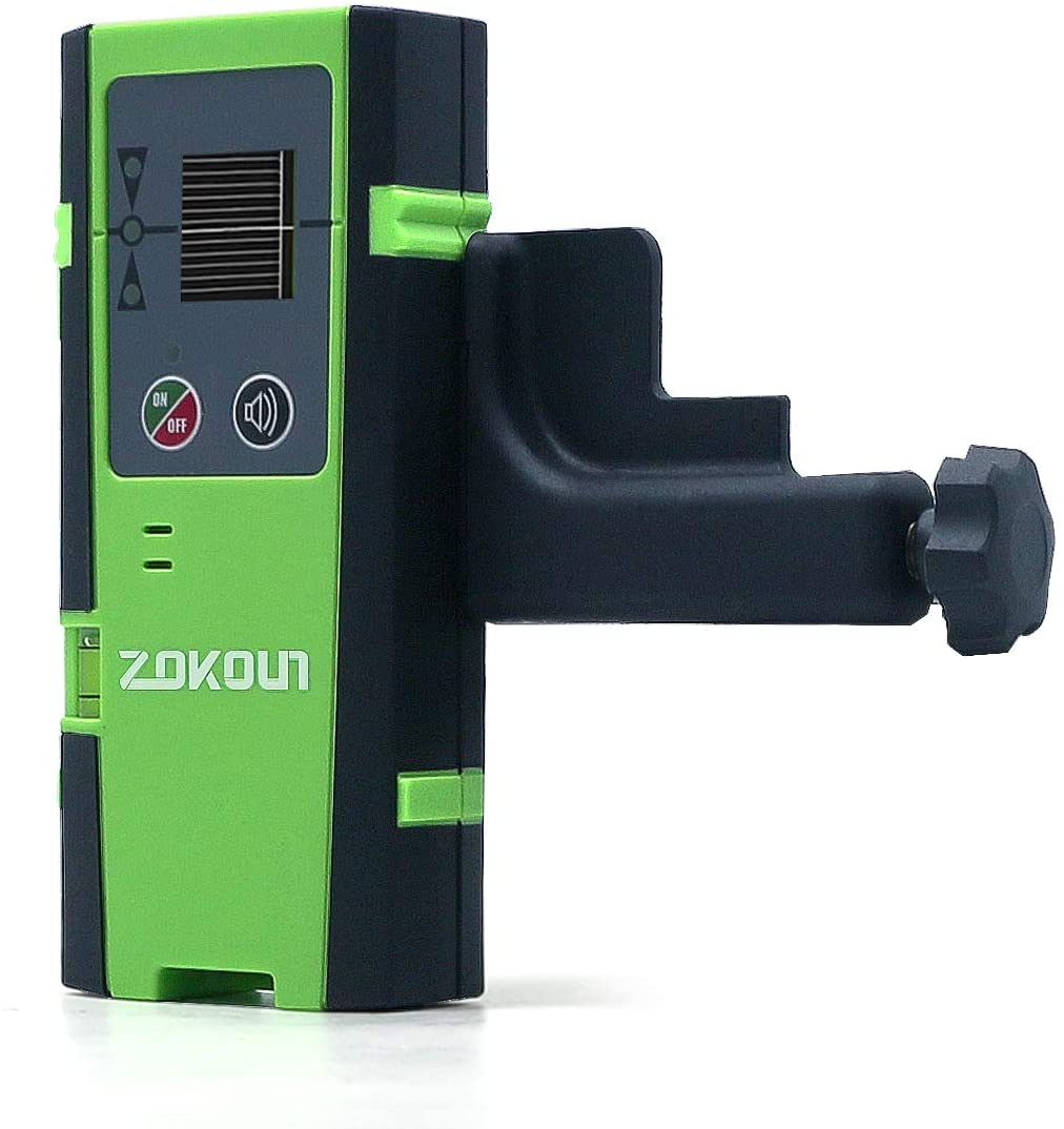 Zokoun Laser Detector for Line Laser Level, Digital Laser Receiver Used with Pulsing Line Lasers Up to 50m/164ft, Detect Red and Green Laser Beams, Three-Sided LED Displays (Receiver-DC12G)