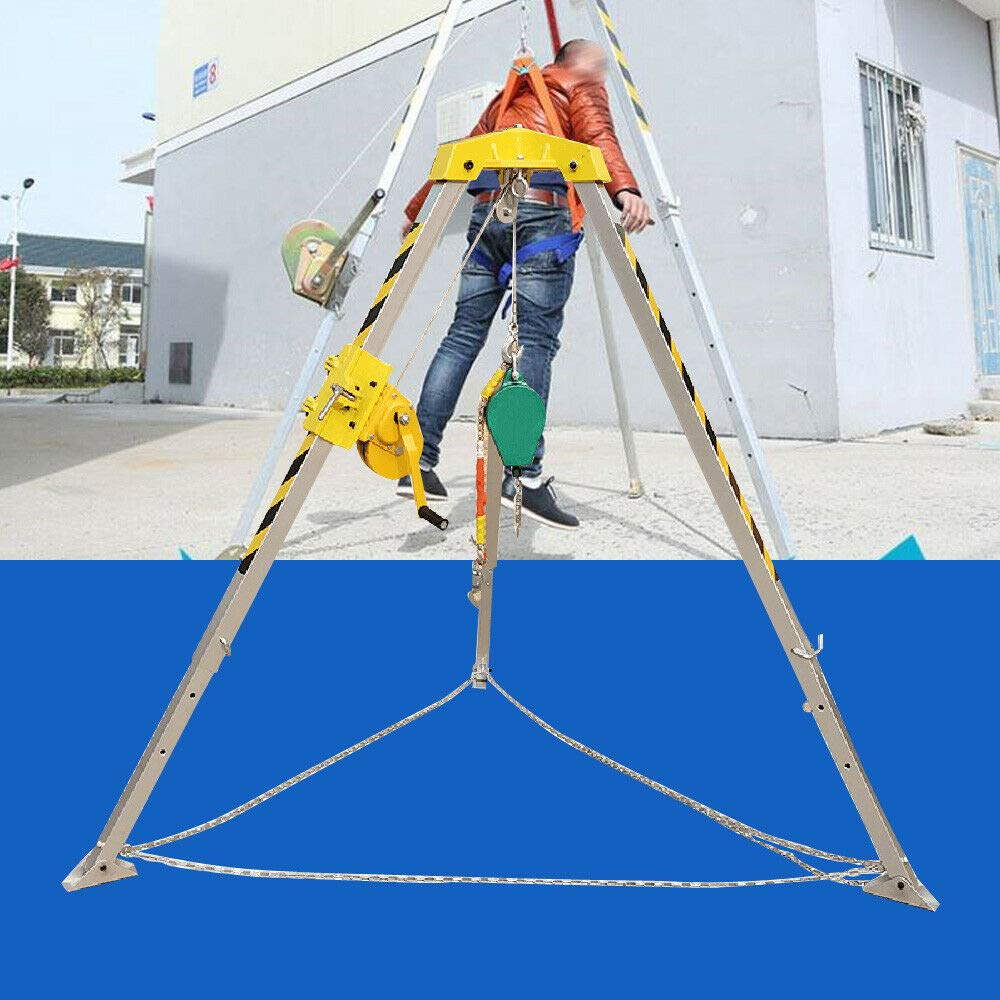 Personnel Winch Rated Load 180kg/390lb Confined Space Tripod Kit Portable Well Rescue Non-Slip Tripod Wire Rope Length 30 m / 99 feet USA Stock