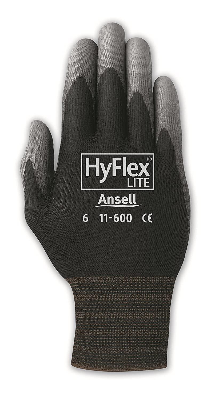 Ansell HyFlex 11-600 Nylon Polyurethane Glove, Gray Polyurethane Coating, Knit Wrist Cuff, Medium, Size 8 (Pack of 12 Pairs)