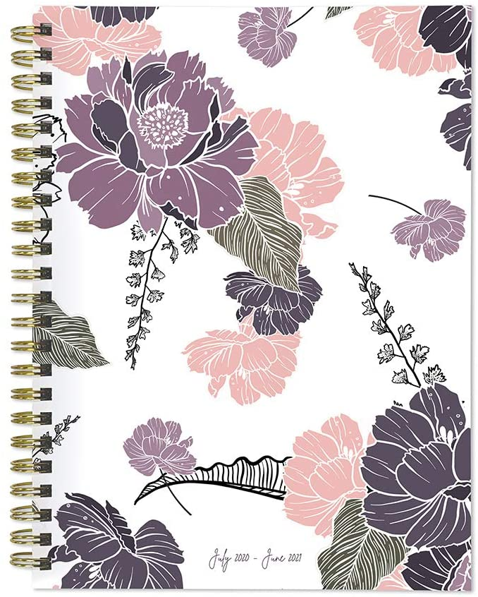 Drawn Flowers Medium 6 x 8 Daily Weekly Monthly Planner + Coordinating Planning Stickers (July 2020 - June 2021)