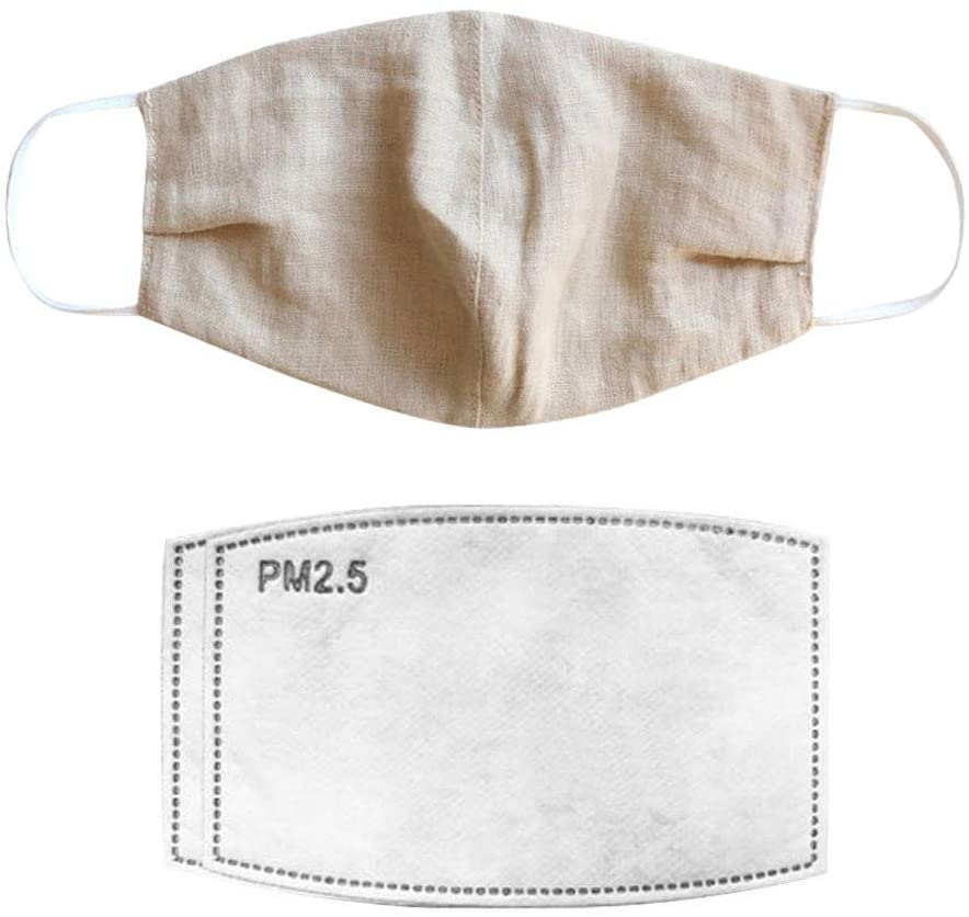 Benficial 1PC Natural Linen Adult Comfortable Windproof Foggy Haze Reusable Protect with 2PC Filters Safety Breathable