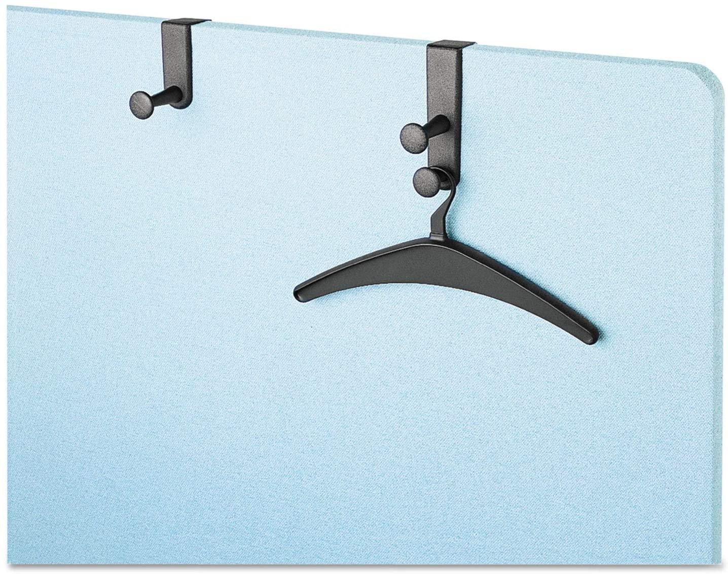 Quartet 20701 - Over-The-Panel Hook with Steel Single-Garment Hanger, 1 3/4 x 4 1/2, Black-QRT20701