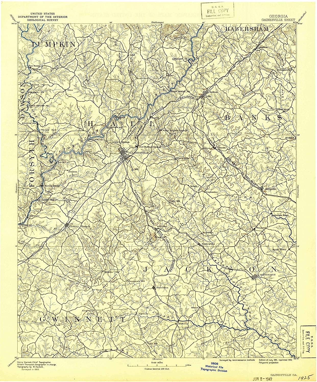 Map Print - Gainesville, Georgia (1891), 1:125000 Scale - 24