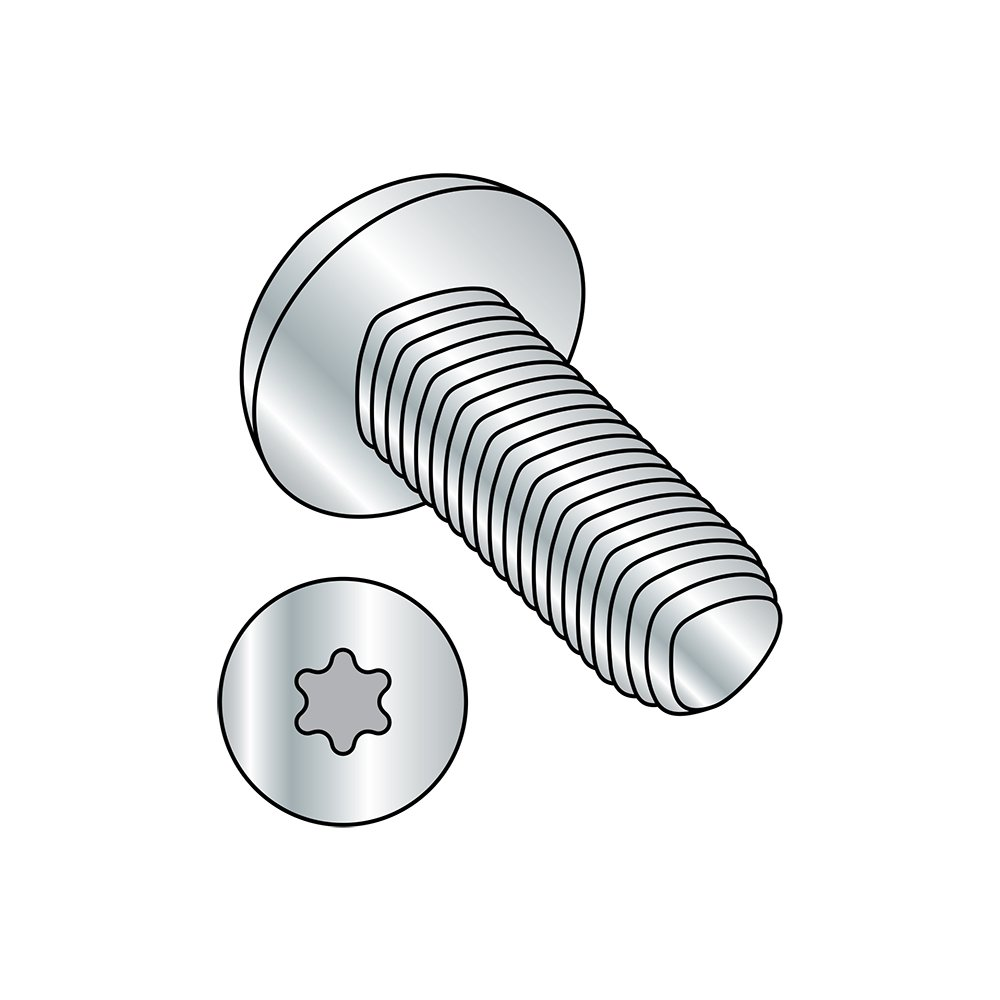 Steel Thread Rolling Screw for Metal, Zinc Plated, Pan Head, Star Drive, #4-40 Thread Size, 1/4