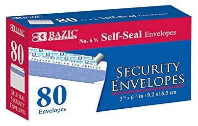 Bazic #6 3/4 Self-Seal Security Envelope - 80 Pack 24 pcs sku# 1820433MA