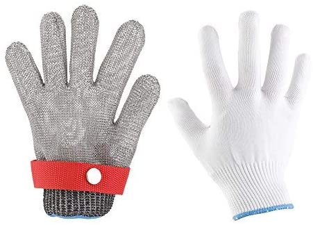 1 piece stainless steel cut resistant glove with adjustable butcher-proof meat process safety tool (S)