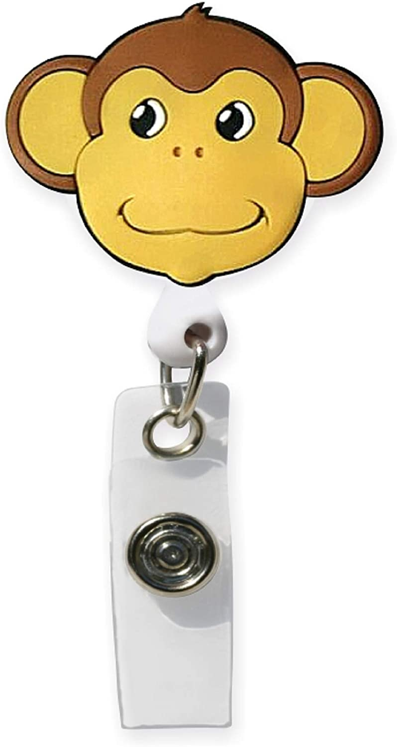 Smart Charms 3D Soft Rubber Retractable Badge ID Holder (Monkey)