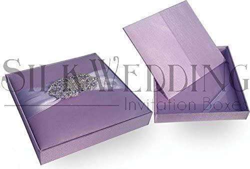 Delicate Lavender Silk Invitation Box with Sparkling Silver Brooch