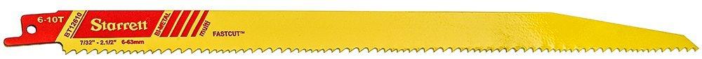 Starrett BT12610-50 Bi-Metal Fast Cut Tapered General Purpose Reciprocating Blade, 0.050