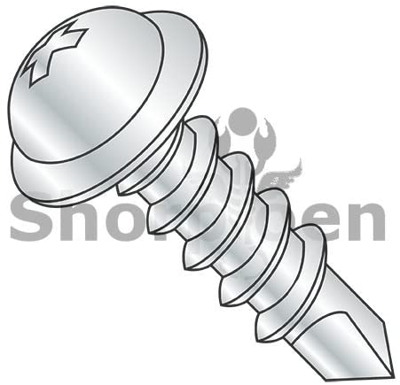 10-16X1 Phillips Round Washer Head Self Drilling Screw Full Thread Zinc and Bake - Box Quantity 5000 by Shorpioen BC-1016KPRW