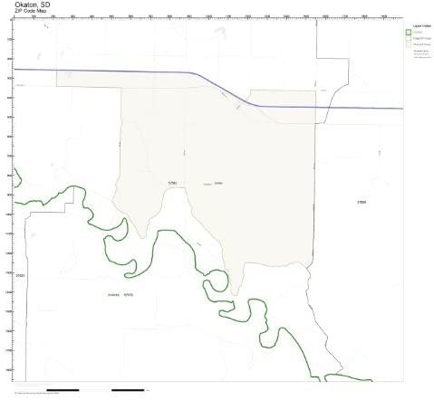 ZIP Code Wall Map of Okaton, SD ZIP Code Map Laminated