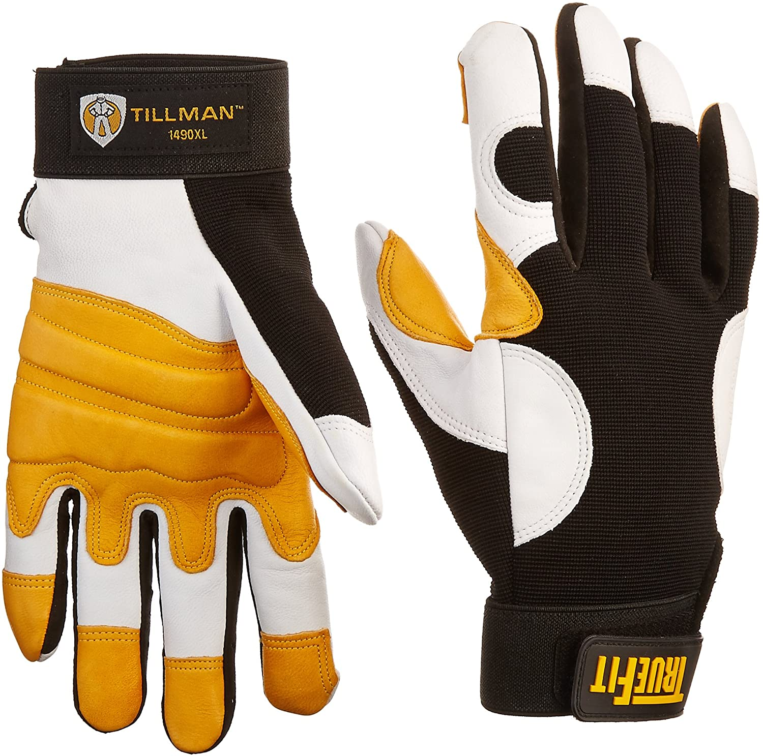 Tillman X-Large Black, Pearl and Gold TrueFit Goatskin and Spandex Full Finger Mechanics Gloves with ElasticHook and Loop Cuff