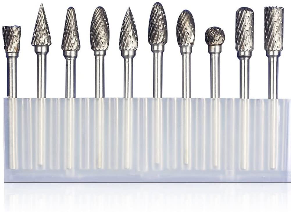 Tungsten Steel Grinding Head Drill, Double Cut Carbide Rotary Burr Tool Set, 10pcs 1/8