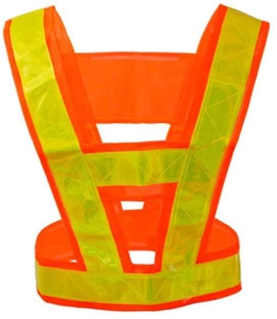 Safety Vest Safety Reflective Vest, Luminous Two-Color Optional Night Reflective Vest High-Brightness Safety Warning Service Child Safety Vest (Color : Orange red)
