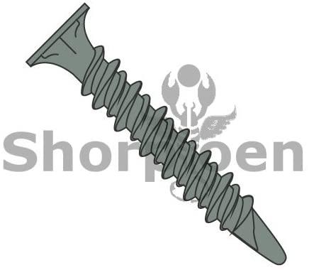 8-15X1 5/8 Phil Wafer Head w/Nibs High Low Spade Point Full Thread Self Drill Green Ceramic - Box Quantity 1000 by Shorpioen BC-0826KPFSH