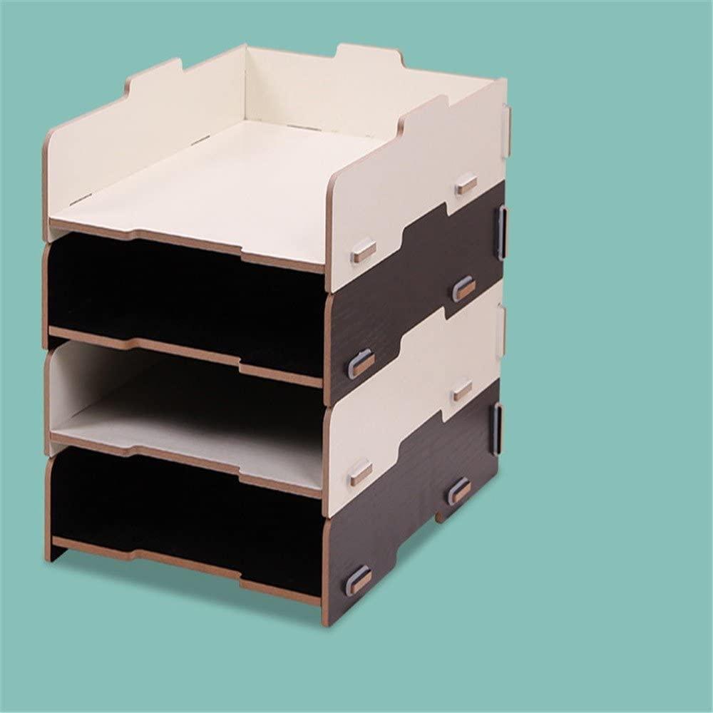 Desktop A4 File Basket 4 Layers of Information Storage Rack Wooden File Rack Item Organizer File Organizer Office Supplies, 26×32.9×25cm,Black+White
