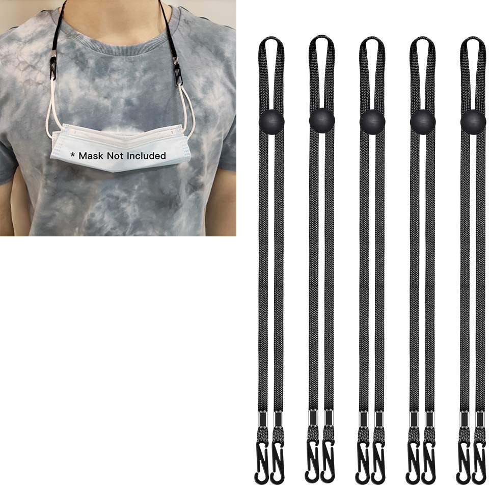 (5 Pack Black) Neck Lanyards - Adjustable Face Cover Rest Ear Holder Rope,Lanyard Handy Convenient Safety Sanitary Strap Extenders