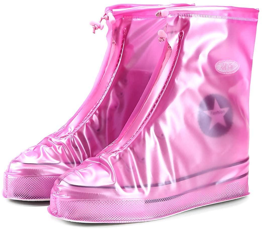 VanSP 1Pair Reusable Rain Shoes Covers All Seasons Waterproof Slip-Resistant Zipper Rain Boot Overshoes Unisex Shoes Accessories for Men and Women Pink XL(Sole Length11.61'')