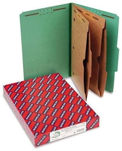 Smead Six-Section Pressboard Top Tab Classification Folders with Pockets FOLDER,CLAS,LGL,2/5C,GN (Pack of2)