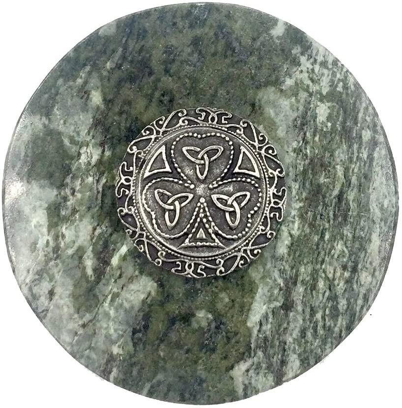 Connemara Genuine Irish Marble/Mullingar Pewter Paperweight Trinity Shamrock Design