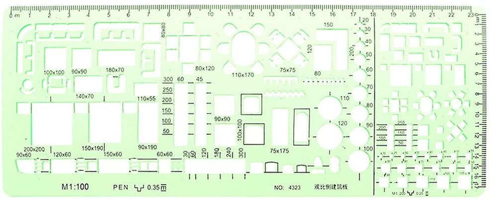 minansostey Plastic Geometric Template Ruler Drawing Tools for Student School Stationery Pro