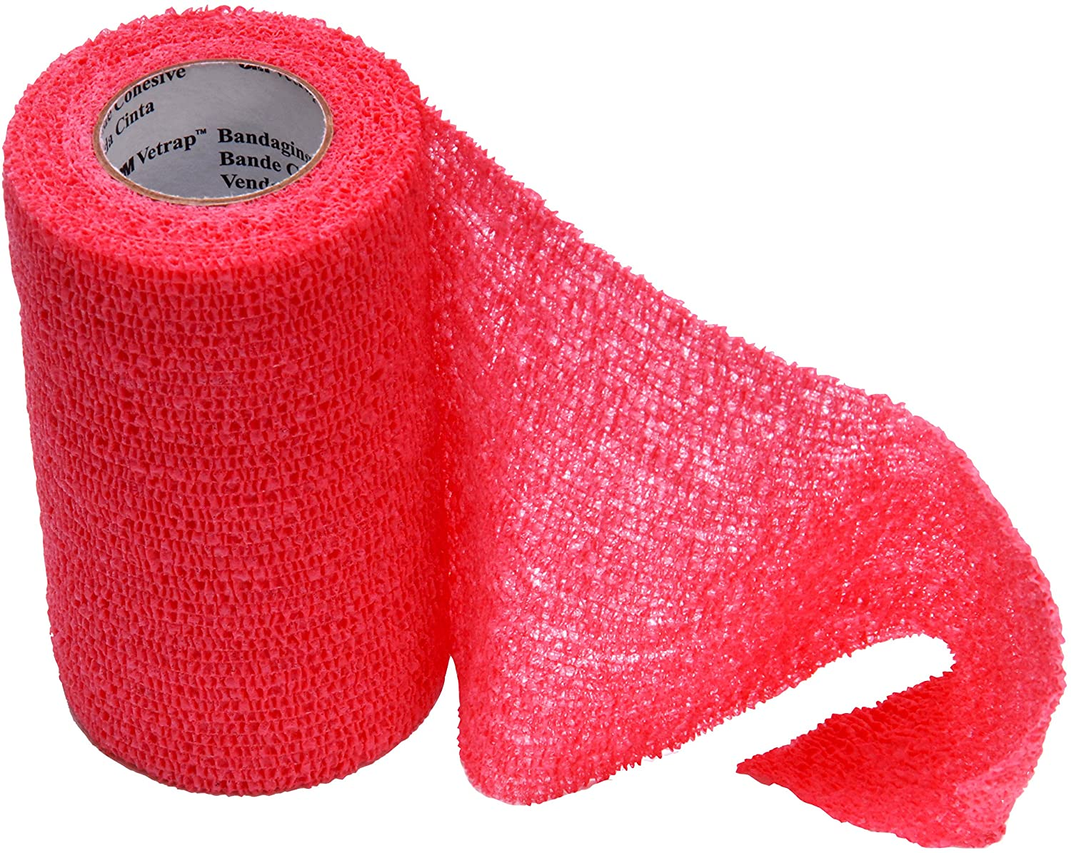 3M Vetrap 4-Inch Bandaging Tape, 4-Inch x 5 Yards, Red (12 Rolls)