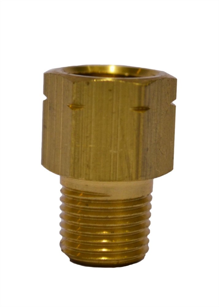 Trico FA-1017 Brass Central Lubrication Straight Adapter, 1/8 BSPT Female x 1/8 NPT Male