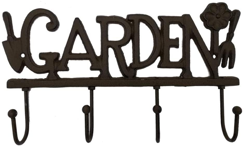 Cast Iron Garden Shovel Four Key Coat Hooks Clothes Rack Wall Hanger, Heavy Duty Recycled