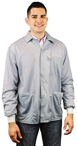 DESCO 73779 Nylon Fabric Grey Statshield Smock Jacket with Knitted Cuffs, X-Large
