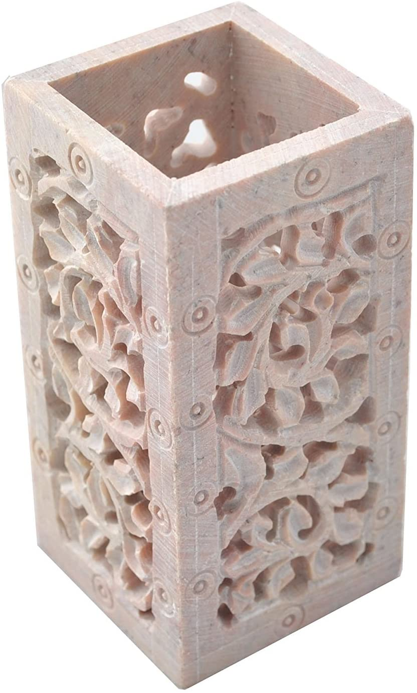 StarZebra Handmade Jaali / Lattice Work Soapstone Pen Pencil Holder Organizer 4