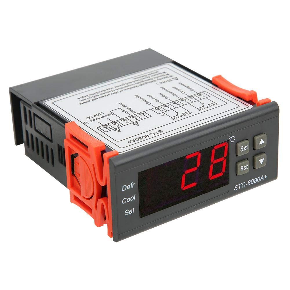 Temperature Controller 10A/220VAC STC-8080A+ Digital Thermostat Refrigerating Defrosting Temperature Alarm Cooling Heating Modes, -50°C-99°C