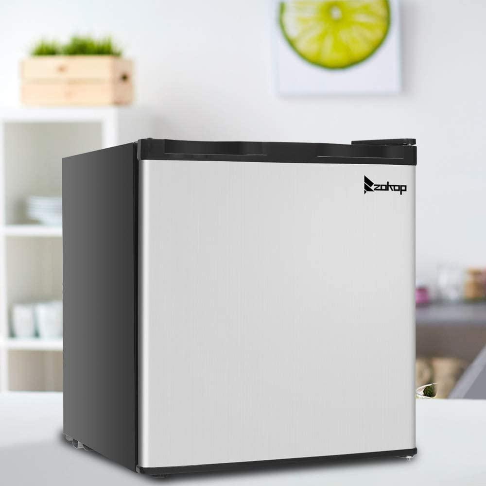 Portable Small Fridge - Single Door Mini Fridge Freezer for Bedroom Office or Dorm with Adjustable Temperature, Removable Glass Shelves