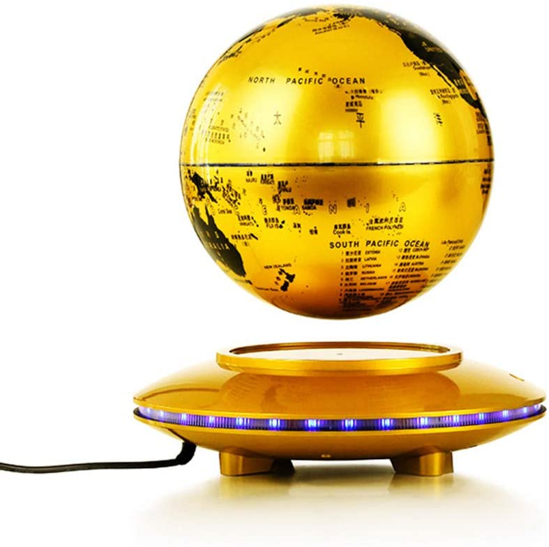 Aizihan Levitating Globe, Magnetic Floating Rotating Globe with Illuminated Constellation Map for Home Office Decor, Christmas Birthday Gift 8 Inch,Gold