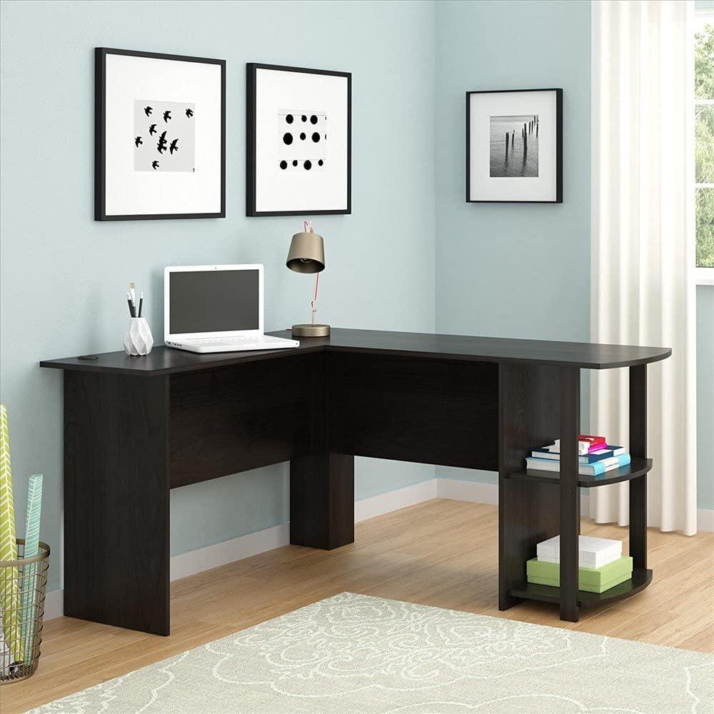 Basic Houseware 53 x 53 inches Large L-Shaped Home Office Wood Corner Desk Computer Desk L Desk Office Desk Workstation Desk with Two-Layer Bookshelves (Dark Brown)