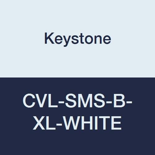 Keystone CVL-SMS-B-XL-White Heavy Duty SMS Coverall, Elastic Wrists and Ankles, Attached Hood and Boots, Single Collar, Zipper Front, XL, White (Pack of 25)