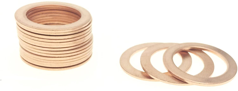 YXQ 14x20x1mm Copper Crush Washer Flat Ring Seal Gasket Fitting M14(50Pcs)