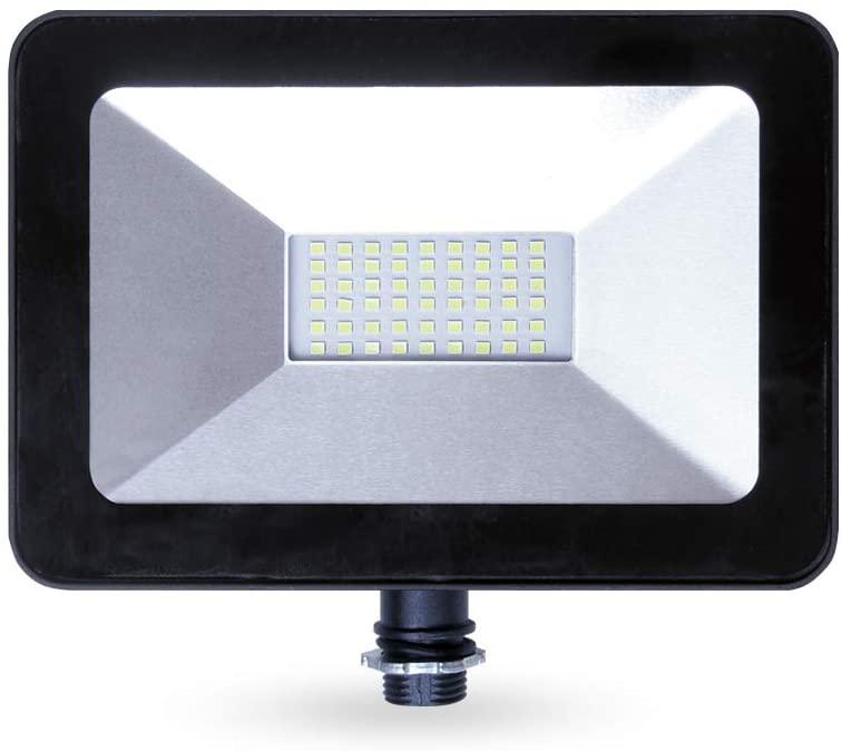 LLT 30W LED Flood Light with Knuckle Mount Super Slim - 2400lm 5000K Daylight SMD - LED Outdoor Light Landscape Security Waterproof - Black Aluminum and Tempered Glass
