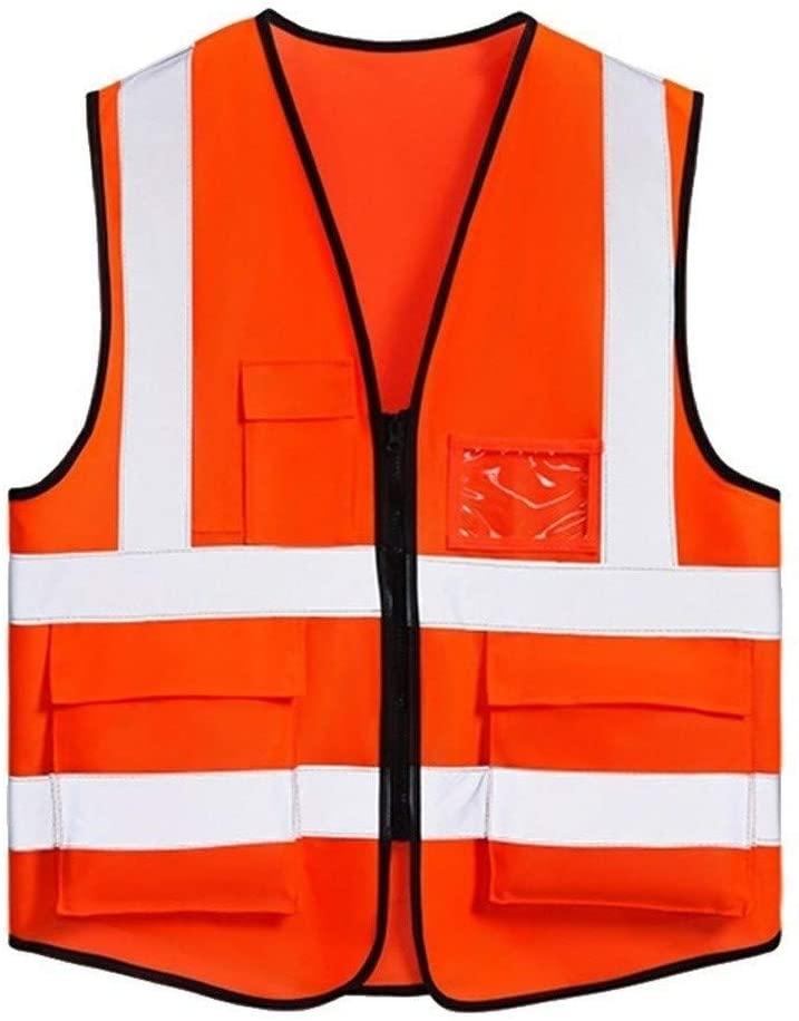 Safety Vest Orange High Visibility Reflective Vest, 100% Polyester Multi-Pocket Overalls Reflective Safety Vest Night Travel Safety Neutralx Child Safety Vest (Color : Orange)
