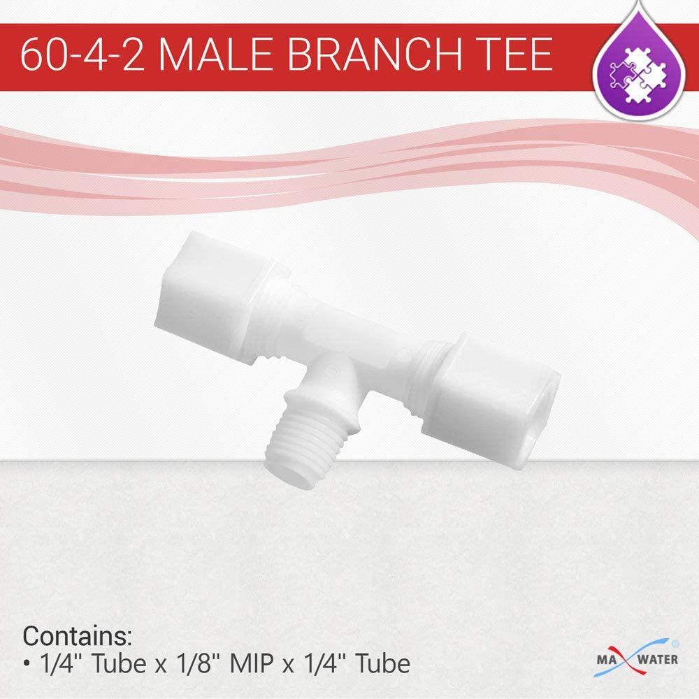Max Water Reverse Osmosis 60-4-2 MALE BRANCH TEE - 1/4
